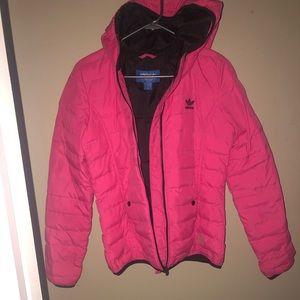 Stripes hooded down jacket